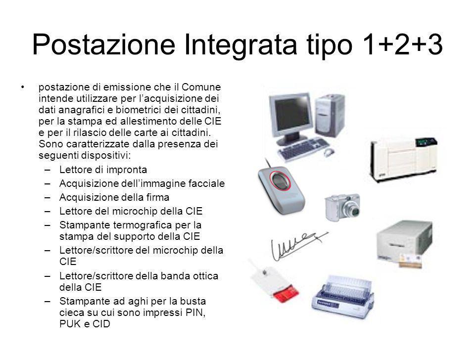Postazione Integrata tipo 1+2+3 postazione di emissione che il Comune intende utilizzare per lacquisizione dei dati anagrafici e biometrici dei cittad