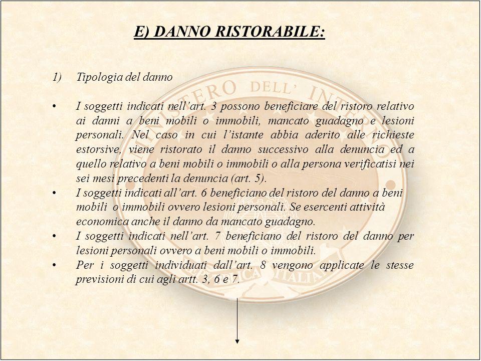 E) DANNO RISTORABILE: 1)Tipologia del danno I soggetti indicati nellart. 3 possono beneficiare del ristoro relativo ai danni a beni mobili o immobili,