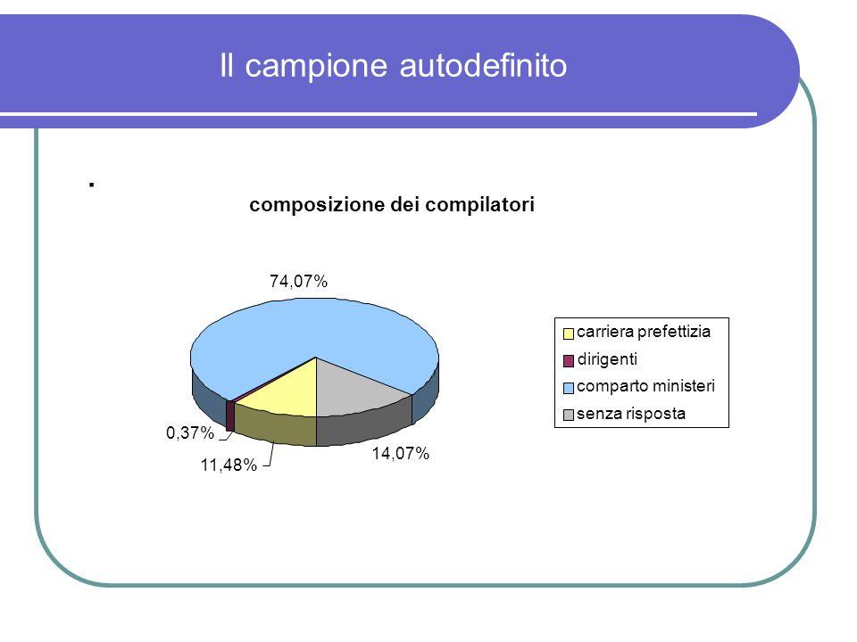 Il campione autodefinito. composizione dei compilatori 11,48% 0,37% 74,07% 14,07% carriera prefettizia dirigenti comparto ministeri senza risposta