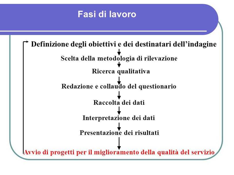 Fasi di lavoro Definizione degli obiettivi e dei destinatari dellindagine Scelta della metodologia di rilevazione Ricerca qualitativa Redazione e coll