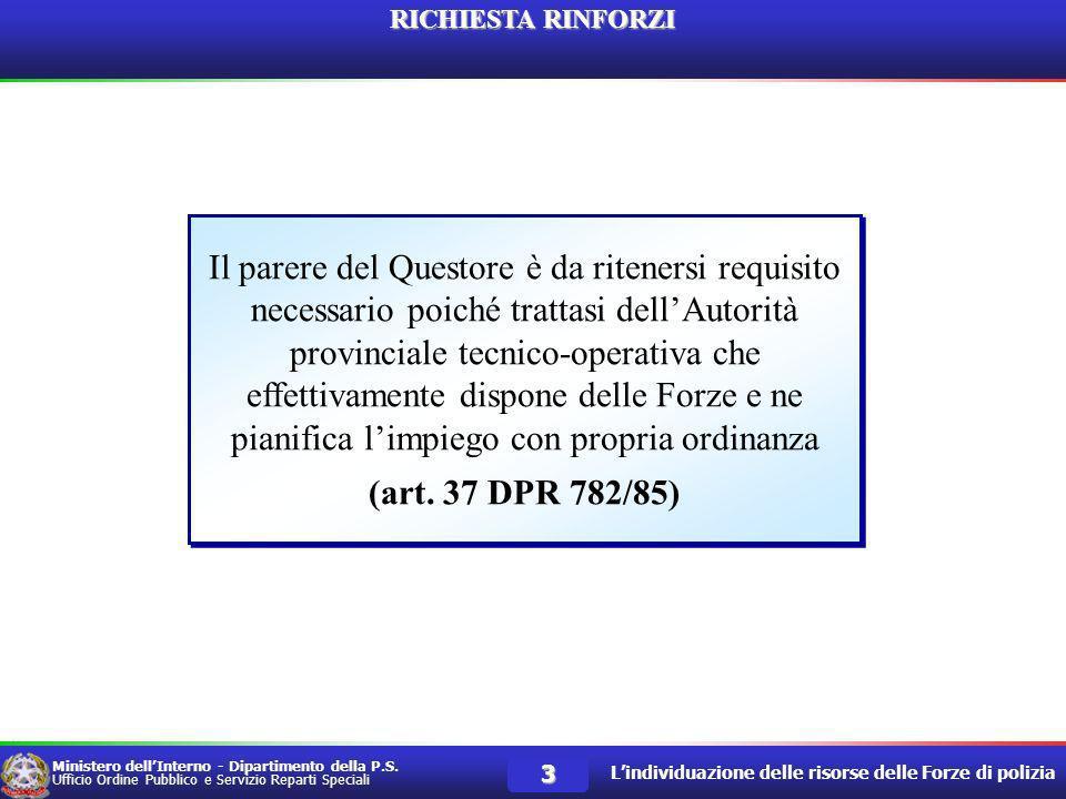 Ministero dellInterno Dipartimento della P.S.