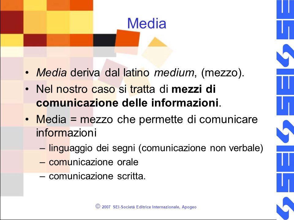 © 2007 SEI-Società Editrice Internazionale, Apogeo Media Media deriva dal latino medium, (mezzo).