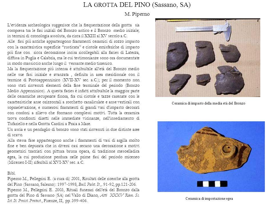 Levidenza archeologica suggerisce che la frequentazione della grotta sia compresa tra le fasi iniziali del Bronzo antico e il Bronzo medio iniziale; i