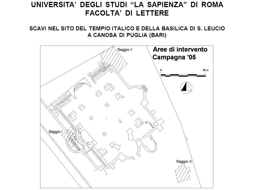 UNIVERSITA DEGLI STUDI LA SAPIENZA DI ROMA FACOLTA DI LETTERE SCAVI NEL SITO DEL TEMPIO ITALICO E DELLA BASILICA DI S. LEUCIO A CANOSA DI PUGLIA (BARI