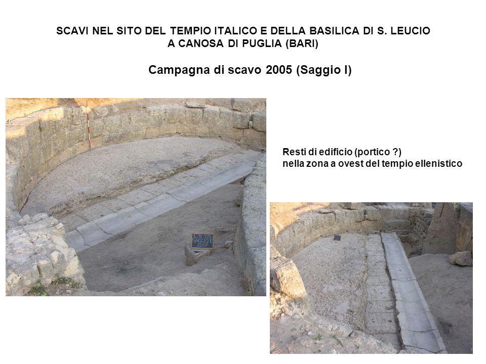 SCAVI NEL SITO DEL TEMPIO ITALICO E DELLA BASILICA DI S. LEUCIO A CANOSA DI PUGLIA (BARI) Campagna di scavo 2005 (Saggio I) Resti di edificio (portico