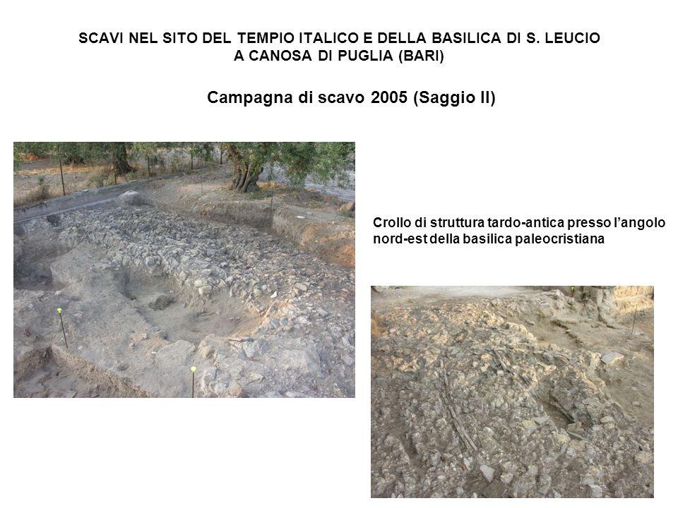 SCAVI NEL SITO DEL TEMPIO ITALICO E DELLA BASILICA DI S. LEUCIO A CANOSA DI PUGLIA (BARI) Campagna di scavo 2005 (Saggio II) Crollo di struttura tardo