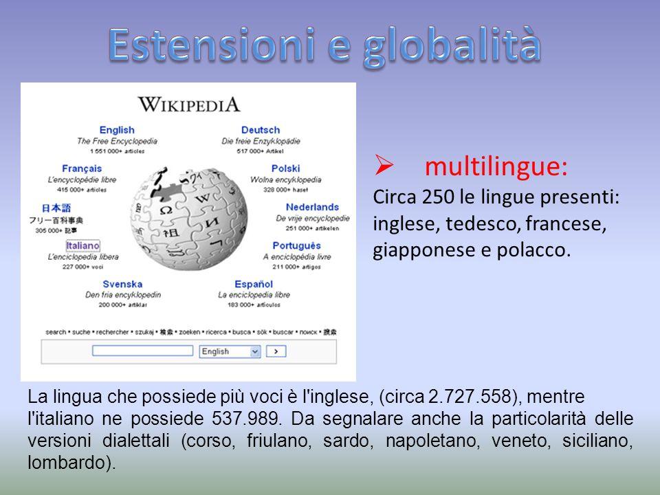 multilingue: Circa 250 le lingue presenti: inglese, tedesco, francese, giapponese e polacco.