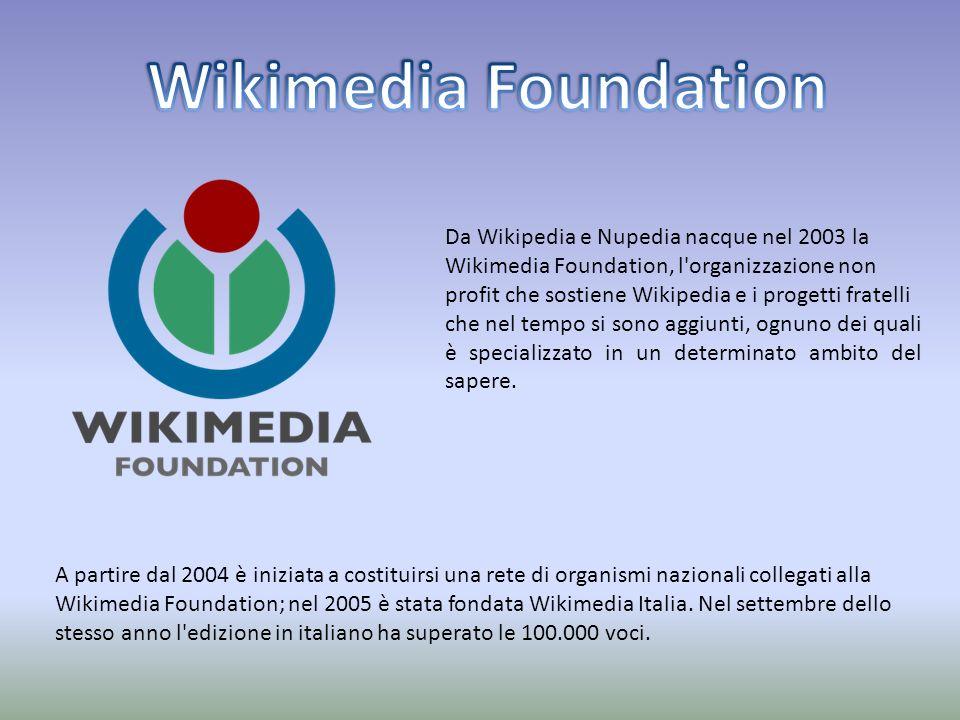 Da Wikipedia e Nupedia nacque nel 2003 la Wikimedia Foundation, l organizzazione non profit che sostiene Wikipedia e i progetti fratelli che nel tempo si sono aggiunti, ognuno dei quali è specializzato in un determinato ambito del sapere.