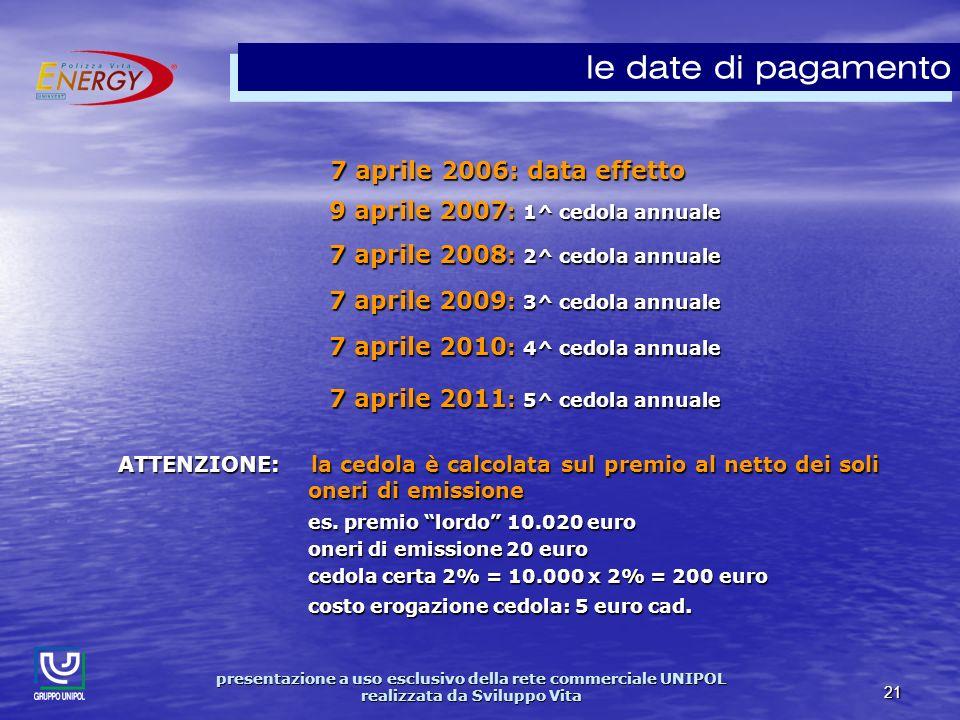 presentazione a uso esclusivo della rete commerciale UNIPOL realizzata da Sviluppo Vita 21 7 aprile 2006: data effetto 7 aprile 2006: data effetto 9 aprile 2007 : 1^ cedola annuale 7 aprile 2008 : 2^ cedola annuale 7 aprile 2009 : 3^ cedola annuale 7 aprile 2010 : 4^ cedola annuale 7 aprile 2011 : 5^ cedola annuale ATTENZIONE: la cedola è calcolata sul premio al netto dei soli oneri di emissione es.