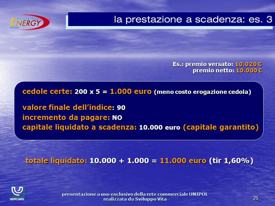 presentazione a uso esclusivo della rete commerciale UNIPOL realizzata da Sviluppo Vita 25 Es.: premio versato: 10.020 Es.: premio versato: 10.020 premio netto: 10.000 premio netto: 10.000 la prestazione a scadenza: es.