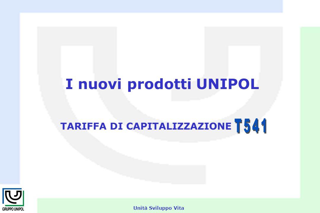 Unità Sviluppo Vita I nuovi prodotti UNIPOL TARIFFA DI CAPITALIZZAZIONE