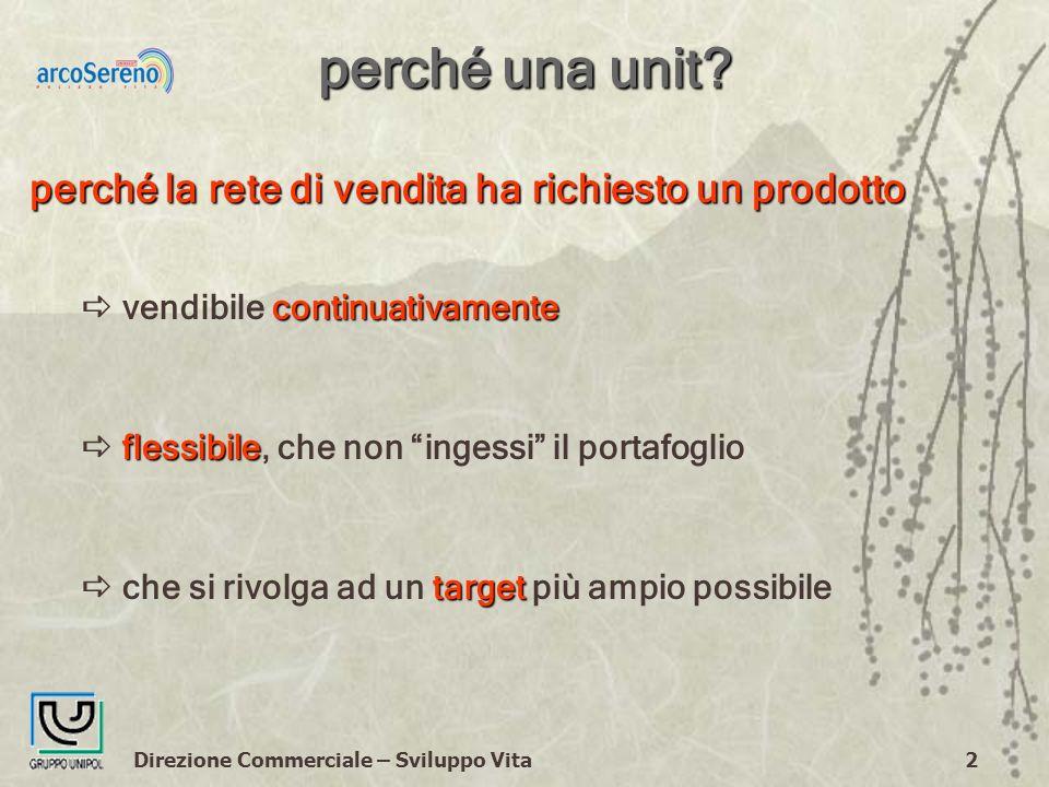 Direzione Commerciale – Sviluppo Vita2 perché una unit.