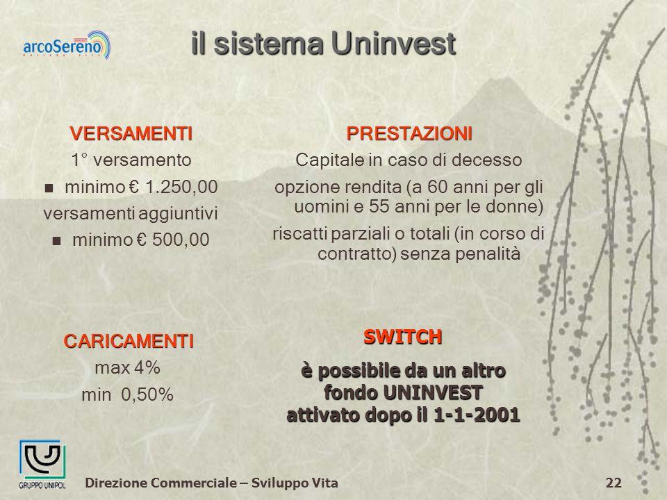 Direzione Commerciale – Sviluppo Vita22 il sistema Uninvest PRESTAZIONI Capitale in caso di decesso opzione rendita (a 60 anni per gli uomini e 55 anni per le donne) riscatti parziali o totali (in corso di contratto) senza penalitàVERSAMENTI 1° versamento n minimo 1.250,00 versamenti aggiuntivi n minimo 500,00 SWITCH è possibile da un altro fondo UNINVEST attivato dopo il 1-1-2001 CARICAMENTI max 4% min 0,50%
