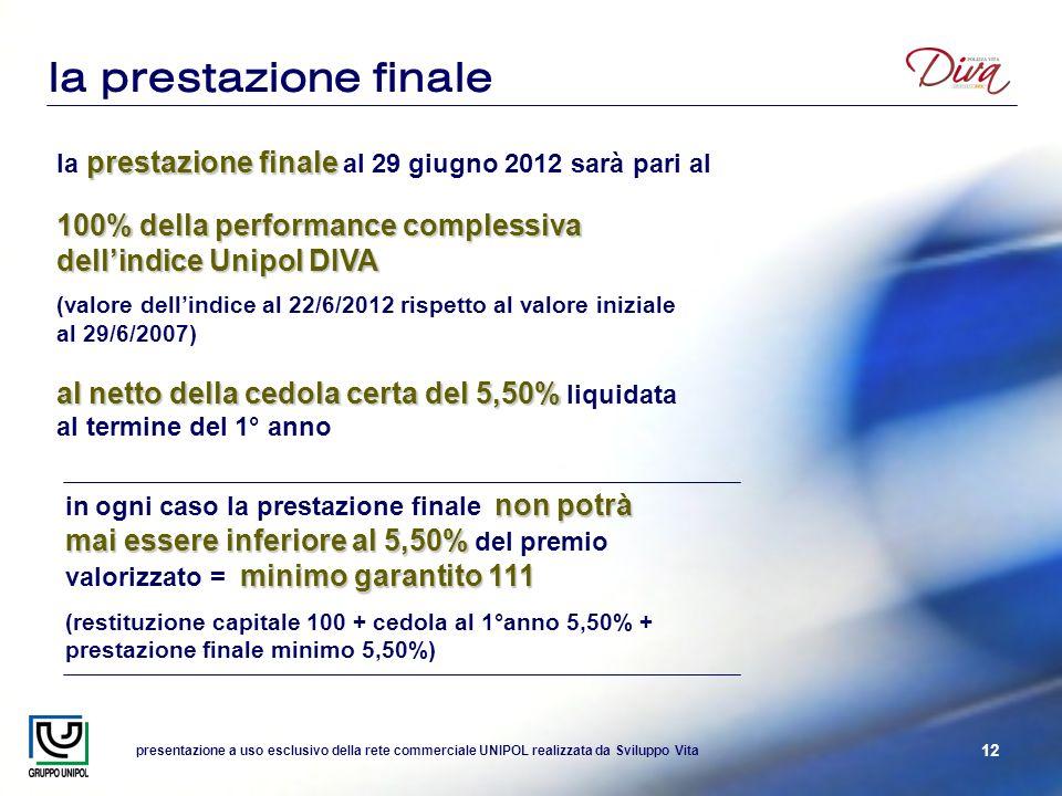 presentazione a uso esclusivo della rete commerciale UNIPOL realizzata da Sviluppo Vita 12 la prestazione finale prestazione finale la prestazione fin