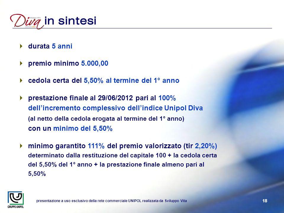presentazione a uso esclusivo della rete commerciale UNIPOL realizzata da Sviluppo Vita 18 in sintesi durata 5 anni premio minimo 5.000,00 cedola cert