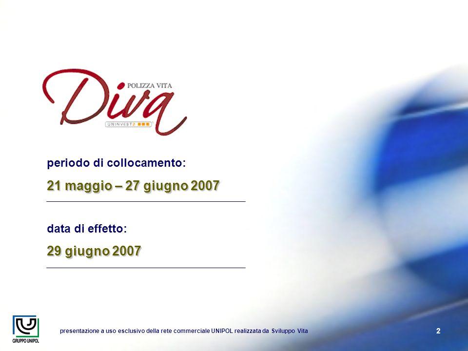 presentazione a uso esclusivo della rete commerciale UNIPOL realizzata da Sviluppo Vita 2 periodo di collocamento: 21 maggio – 27 giugno 2007 data di effetto: 29 giugno 2007