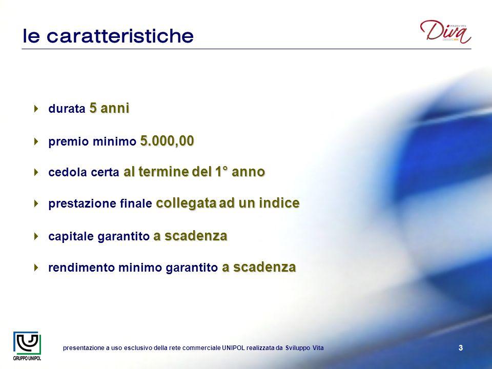 presentazione a uso esclusivo della rete commerciale UNIPOL realizzata da Sviluppo Vita 3 le caratteristiche 5 anni durata 5 anni 5.000,00 premio mini