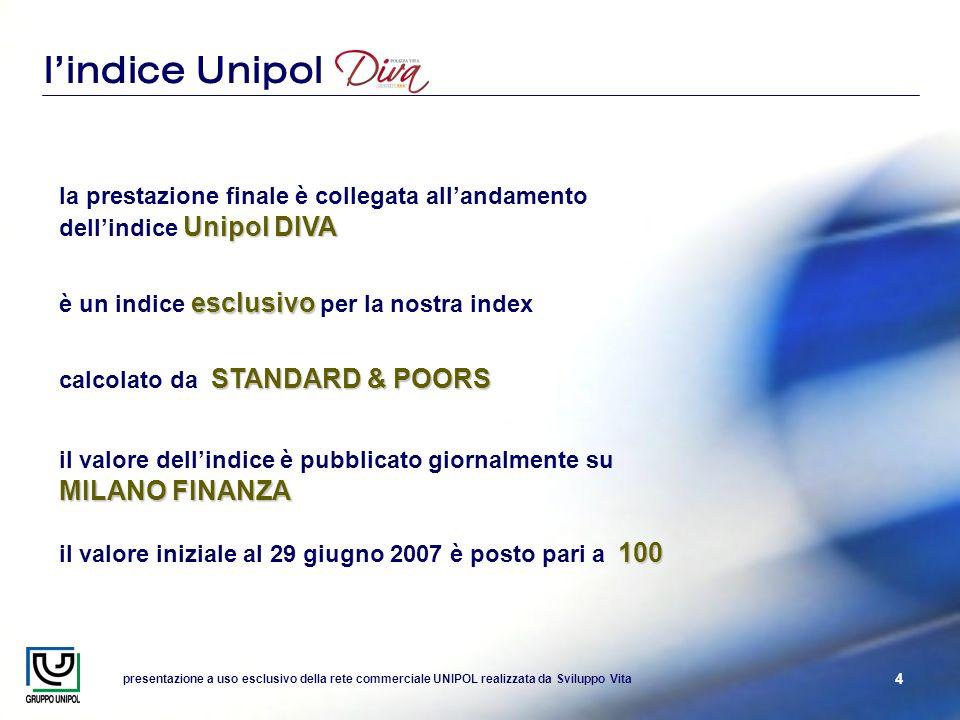 presentazione a uso esclusivo della rete commerciale UNIPOL realizzata da Sviluppo Vita 4 lindice Unipol Unipol DIVA la prestazione finale è collegata