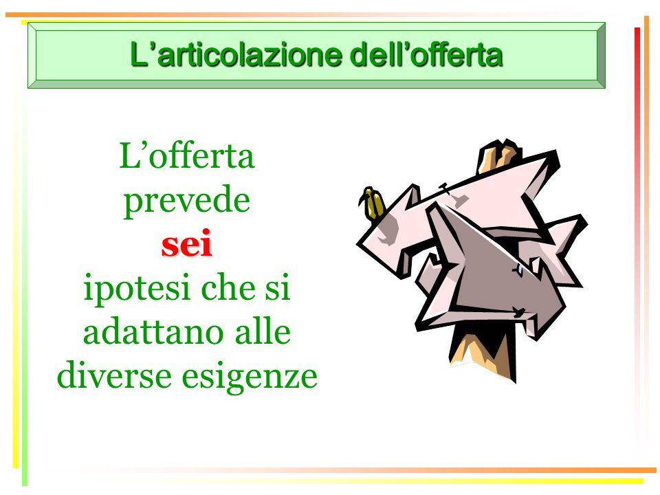 Larticolazione dellofferta Lofferta prevedesei ipotesi che si adattano alle diverse esigenze