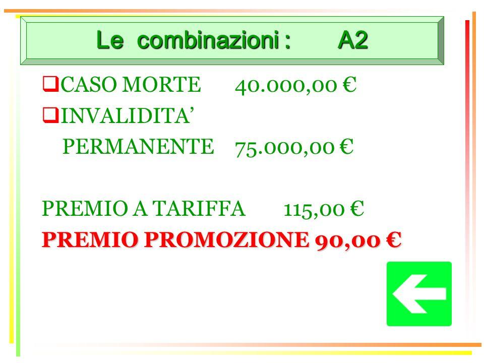 Le combinazioni : A2 CASO MORTE40.000,00 INVALIDITA PERMANENTE75.000,00 PREMIO A TARIFFA 115,00 PREMIO PROMOZIONE 90,00 PREMIO PROMOZIONE 90,00