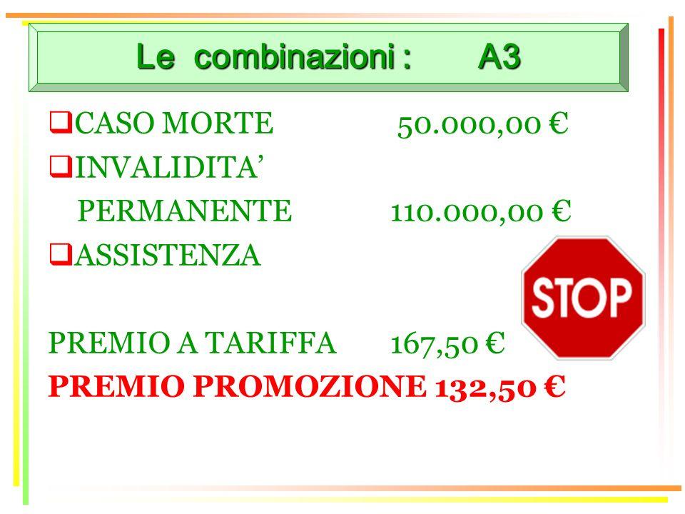 Le combinazioni : A3 CASO MORTE 50.000,00 INVALIDITA PERMANENTE110.000,00 ASSISTENZA PREMIO A TARIFFA 167,50 PREMIO PROMOZIONE 132,50