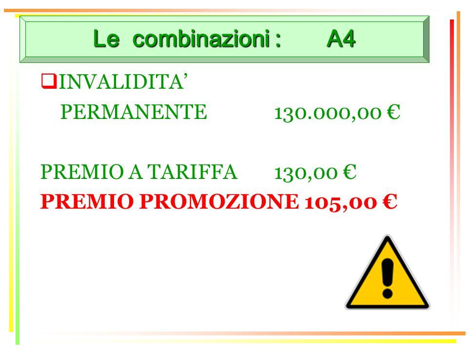 Le combinazioni : A4 INVALIDITA PERMANENTE130.000,00 PREMIO A TARIFFA 130,00 PREMIO PROMOZIONE 105,00
