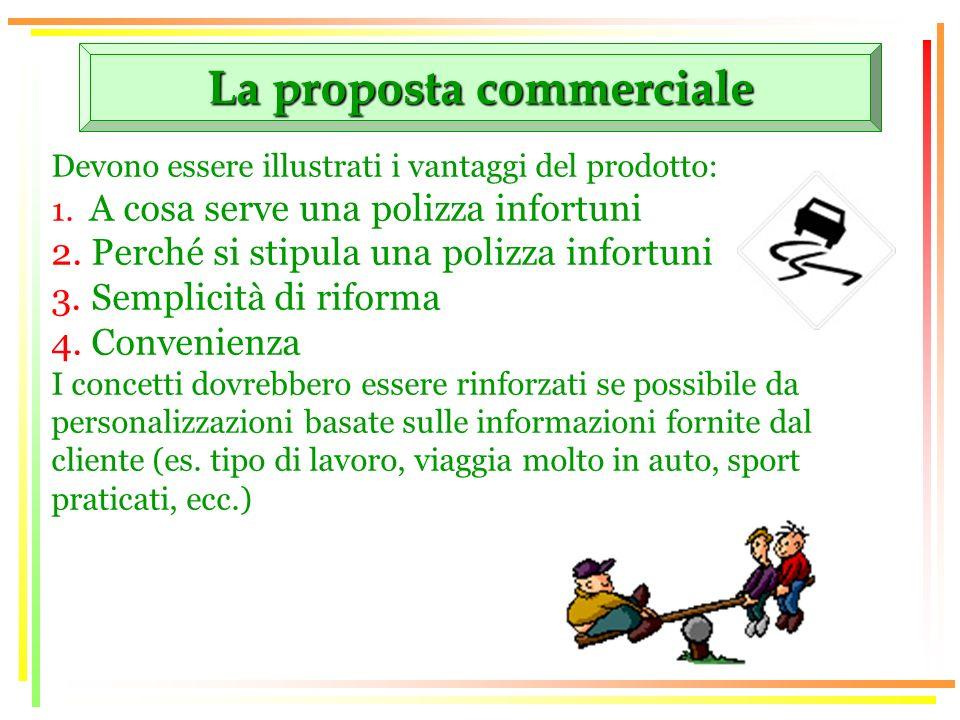 La proposta commerciale Devono essere illustrati i vantaggi del prodotto: 1. A cosa serve una polizza infortuni 2. Perché si stipula una polizza infor