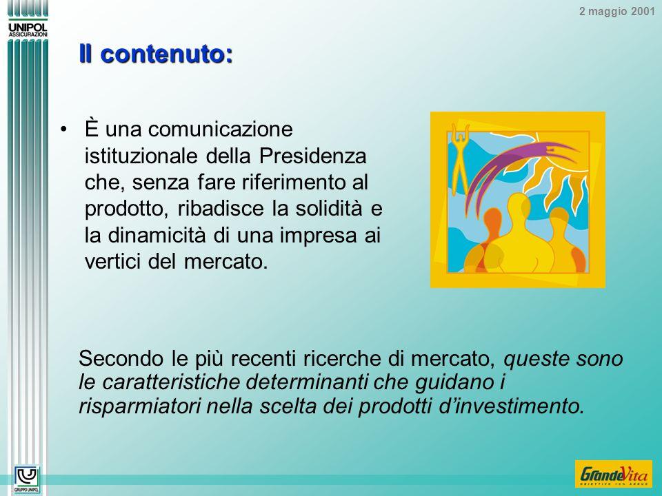 2 maggio 2001 Il contenuto: È una comunicazione istituzionale della Presidenza che, senza fare riferimento al prodotto, ribadisce la solidità e la dinamicità di una impresa ai vertici del mercato.
