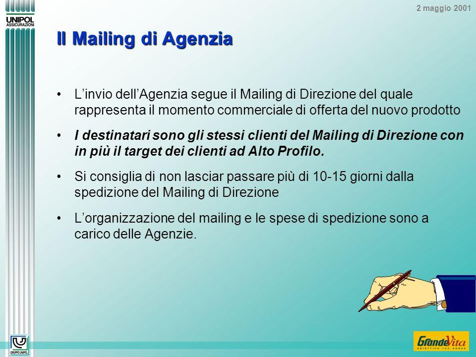 2 maggio 2001 Il Mailing di Agenzia Linvio dellAgenzia segue il Mailing di Direzione del quale rappresenta il momento commerciale di offerta del nuovo prodotto I destinatari sono gli stessi clienti del Mailing di Direzione con in più il target dei clienti ad Alto Profilo.