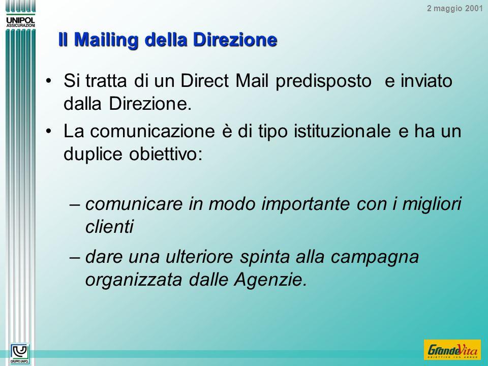 2 maggio 2001 Il Mailing della Direzione Si tratta di un Direct Mail predisposto e inviato dalla Direzione.