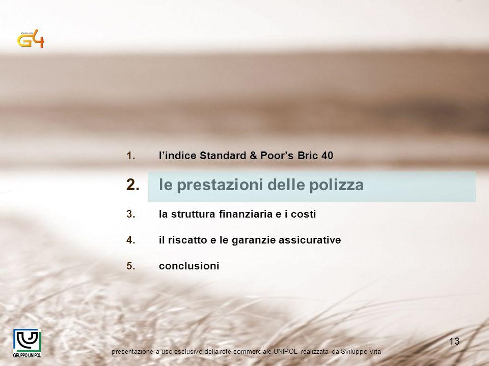 presentazione a uso esclusivo della rete commerciale UNIPOL realizzata da Sviluppo Vita 13 1.lindice Standard & Poors Bric 40 2.le prestazioni delle p