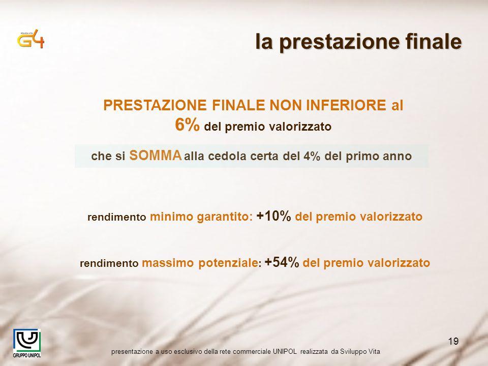 presentazione a uso esclusivo della rete commerciale UNIPOL realizzata da Sviluppo Vita 19 rendimento minimo garantito: +10% del premio valorizzato re