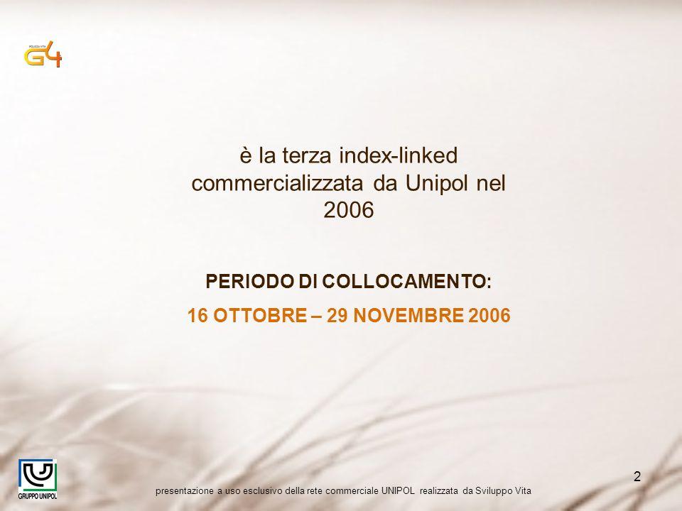 presentazione a uso esclusivo della rete commerciale UNIPOL realizzata da Sviluppo Vita 2 è la terza index-linked commercializzata da Unipol nel 2006 PERIODO DI COLLOCAMENTO: 16 OTTOBRE – 29 NOVEMBRE 2006