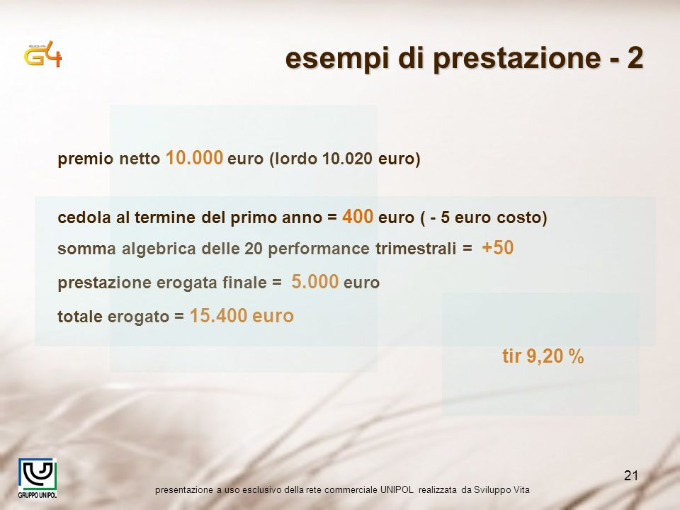 presentazione a uso esclusivo della rete commerciale UNIPOL realizzata da Sviluppo Vita 21 somma algebrica delle 20 performance trimestrali = +50 pres
