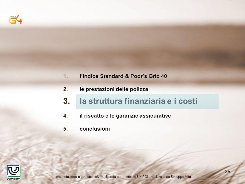presentazione a uso esclusivo della rete commerciale UNIPOL realizzata da Sviluppo Vita 25 1.lindice Standard & Poors Bric 40 2.le prestazioni delle p