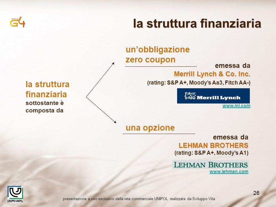 presentazione a uso esclusivo della rete commerciale UNIPOL realizzata da Sviluppo Vita 26 la struttura finanziaria sottostante è composta da unobbligazione zero coupon emessa da Merrill Lynch & Co.