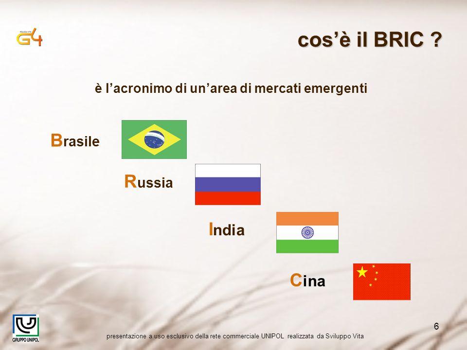 presentazione a uso esclusivo della rete commerciale UNIPOL realizzata da Sviluppo Vita 6 è lacronimo di unarea di mercati emergenti B rasile R ussia I ndia C ina cosè il BRIC