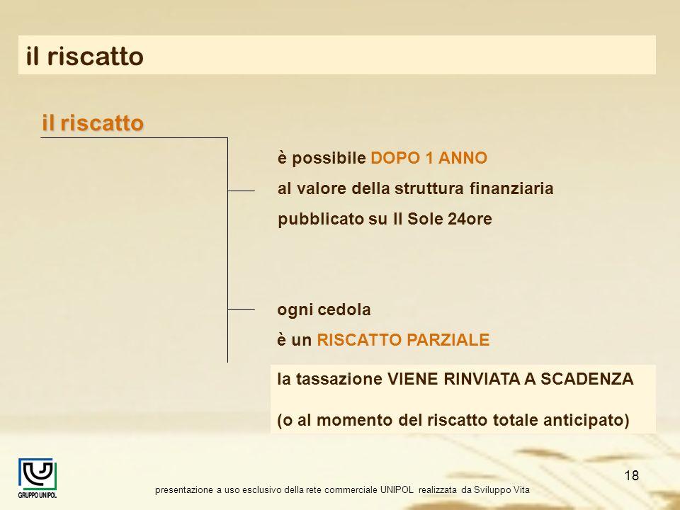 presentazione a uso esclusivo della rete commerciale UNIPOL realizzata da Sviluppo Vita 18 il riscatto è possibile DOPO 1 ANNO al valore della struttu