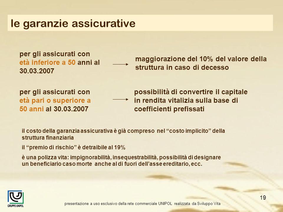 presentazione a uso esclusivo della rete commerciale UNIPOL realizzata da Sviluppo Vita 19 le garanzie assicurative il costo della garanzia assicurati