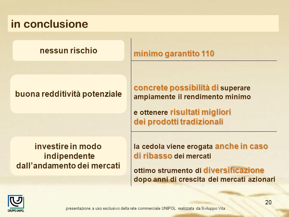 presentazione a uso esclusivo della rete commerciale UNIPOL realizzata da Sviluppo Vita 20 in conclusione nessun rischio minimo garantito 110 buona re