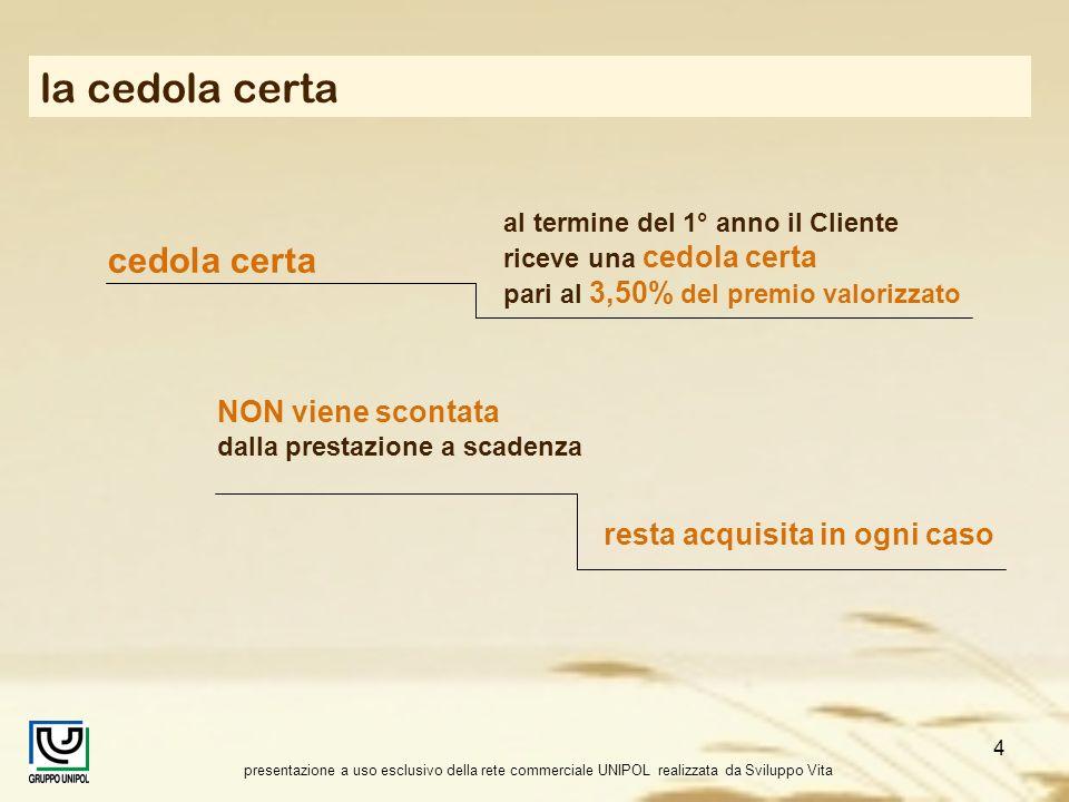 presentazione a uso esclusivo della rete commerciale UNIPOL realizzata da Sviluppo Vita 4 la cedola certa cedola certa al termine del 1° anno il Clien
