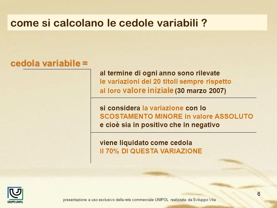 presentazione a uso esclusivo della rete commerciale UNIPOL realizzata da Sviluppo Vita 6 come si calcolano le cedole variabili ? cedola variabile = a