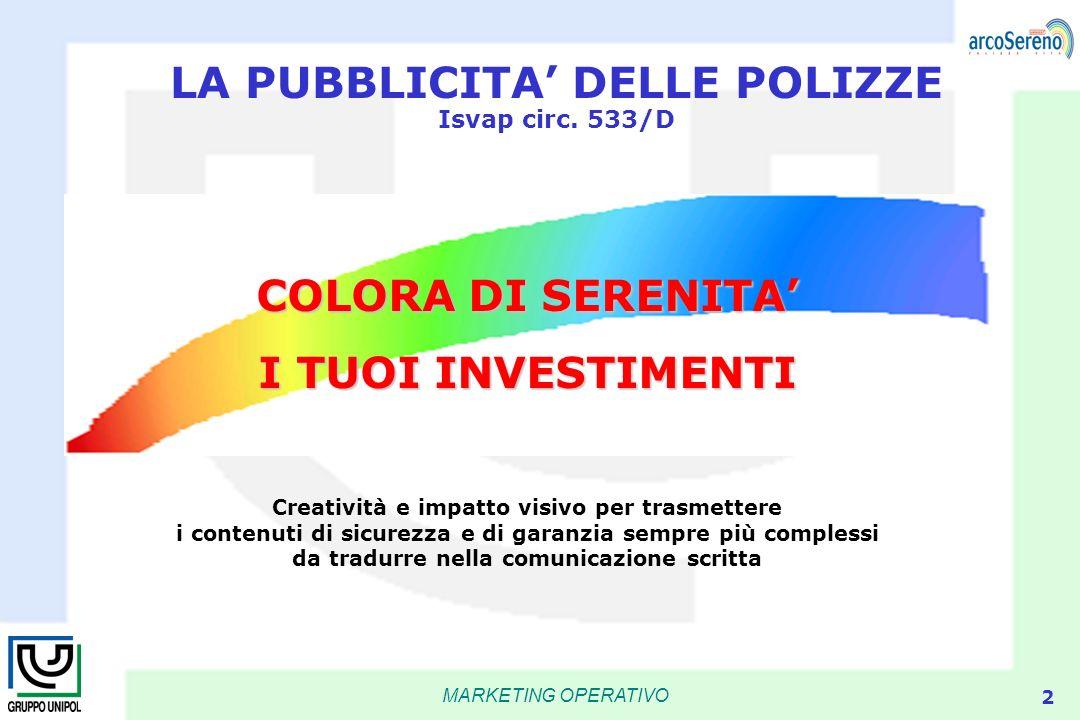 MARKETING OPERATIVO 2 LA PUBBLICITA DELLE POLIZZE Isvap circ. 533/D Creatività e impatto visivo per trasmettere i contenuti di sicurezza e di garanzia