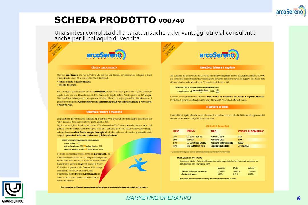 MARKETING OPERATIVO 6 SCHEDA PRODOTTO V00749 Una sintesi completa delle caratteristiche e dei vantaggi utile al consulente anche per il colloquio di v