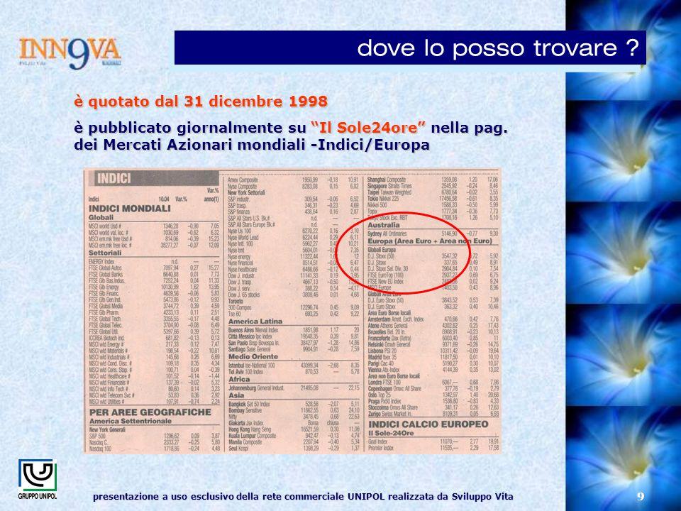 presentazione a uso esclusivo della rete commerciale UNIPOL realizzata da Sviluppo Vita 9 è quotato dal 31 dicembre 1998 è pubblicato giornalmente su Il Sole24ore nella pag.