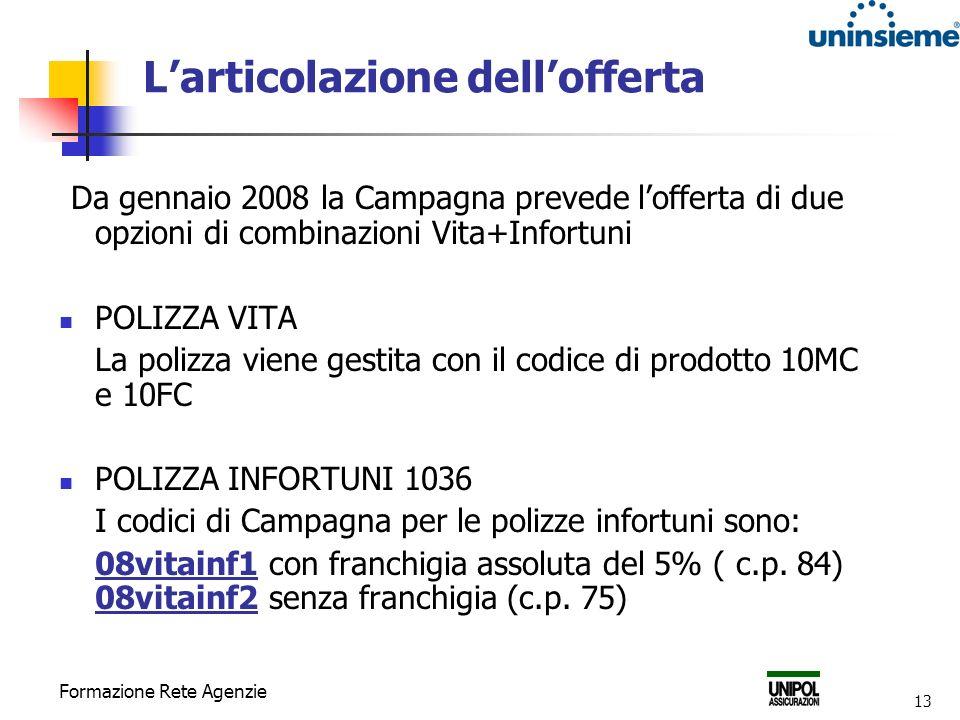 Formazione Rete Agenzie 13 Larticolazione dellofferta Da gennaio 2008 la Campagna prevede lofferta di due opzioni di combinazioni Vita+Infortuni POLIZ
