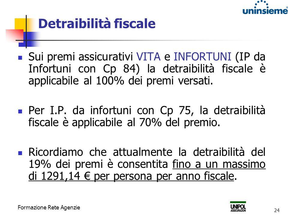 Formazione Rete Agenzie 24 Detraibilità fiscale Sui premi assicurativi VITA e INFORTUNI (IP da Infortuni con Cp 84) la detraibilità fiscale è applicabile al 100% dei premi versati.