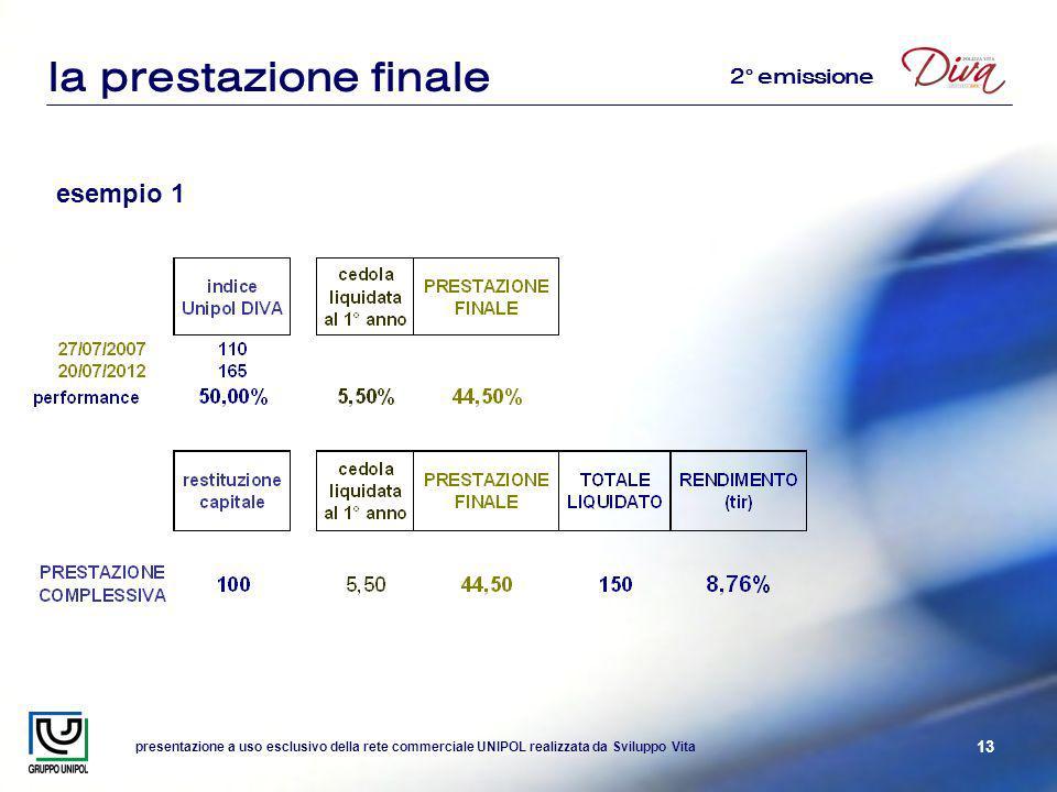 presentazione a uso esclusivo della rete commerciale UNIPOL realizzata da Sviluppo Vita 13 la prestazione finale esempio 1 2° emissione