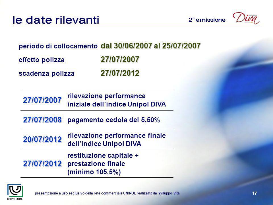 presentazione a uso esclusivo della rete commerciale UNIPOL realizzata da Sviluppo Vita 17 dal 30/06/2007 al 25/07/2007 periodo di collocamento dal 30/06/2007 al 25/07/2007 27/07/2007 effetto polizza 27/07/2007 27/07/2012 scadenza polizza 27/07/2012 le date rilevanti rilevazione performance finale dellindice Unipol DIVA20/07/2012 rilevazione performance iniziale dellindice Unipol DIVA27/07/2007 pagamento cedola del 5,50%27/07/2008 restituzione capitale + prestazione finale (minimo 105,5%)27/07/2012 2° emissione