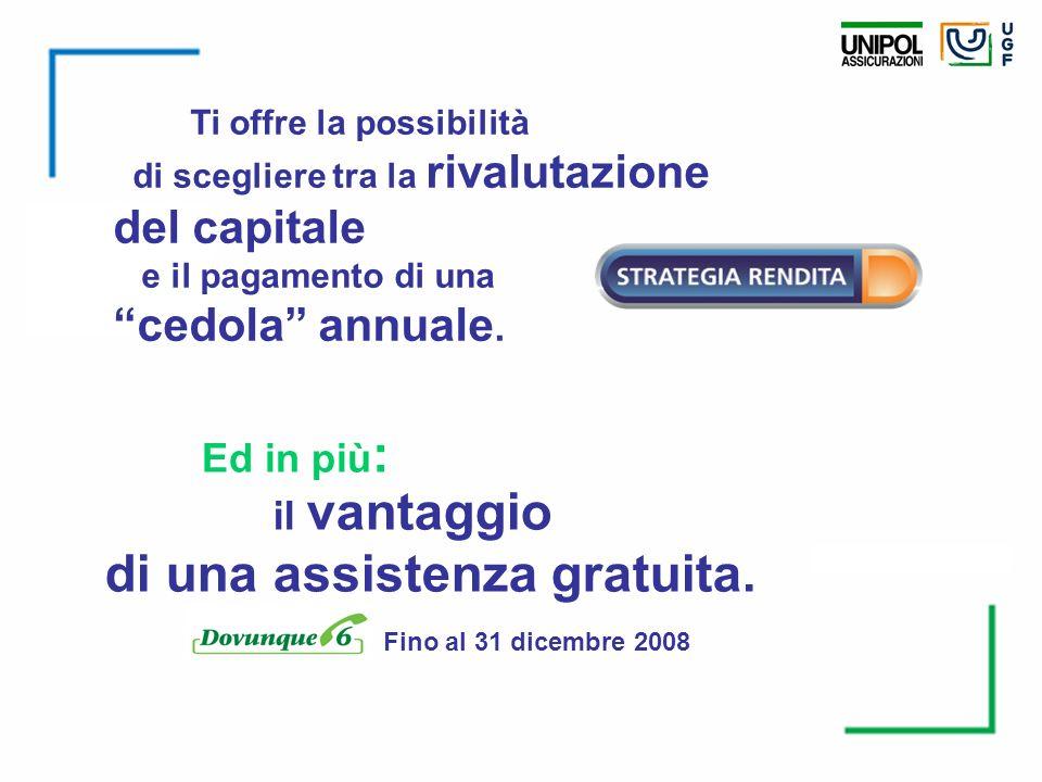 Ti offre la possibilità di scegliere tra la rivalutazione del capitale e il pagamento di una cedola annuale. il vantaggio di una assistenza gratuita.